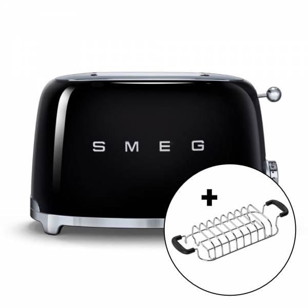 smeg_ tsf 01 toaster schwarz frontansicht mit broetchenaufsatz