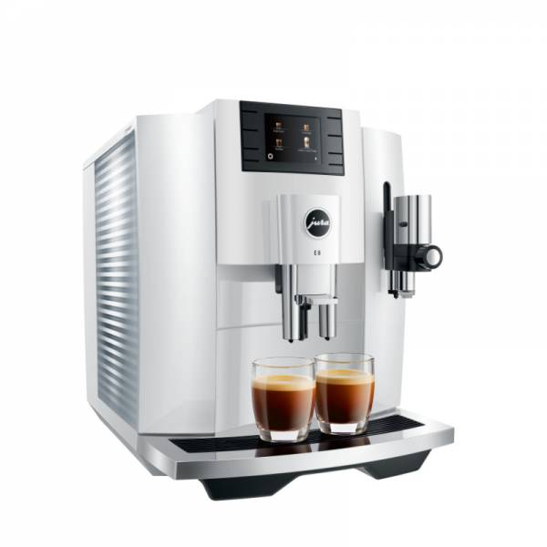 Jura Kaffeevollautomat Weiß Abgewinkelt Links (E8 Piano White EB)