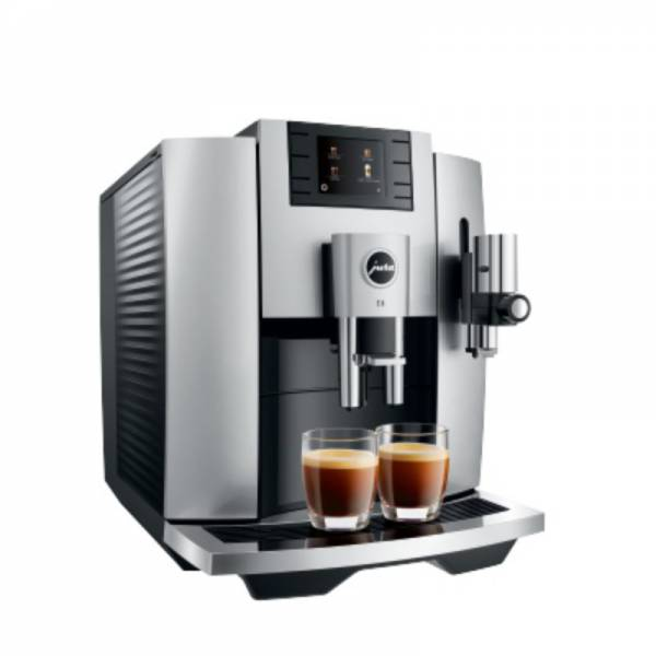 Jura Kaffeevollautomat Silber Abgewinkelt Links (E8 Moonlight Silver EB)