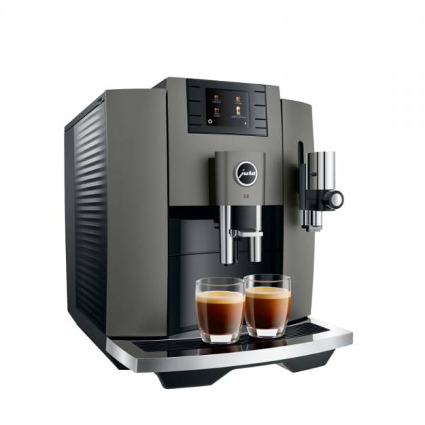 Jura Kaffeevollautomat Edelstahl Abgewinkelt Links (E8 Dark Inox EB)