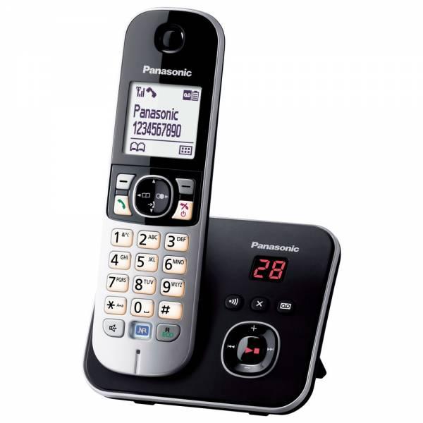 Panasonic KX-TG 6821 Schwarz Schnurloses DECT-Telefon Front mit Basisstation