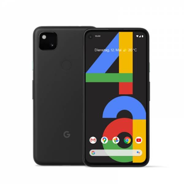 Google Smartphone Schwarz Front und Rückseite (Pixel 4a)