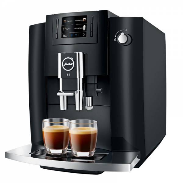 Jura Kaffeevollautomat Schwarz Abgewinkelt Links (E6 Piano Black EB)