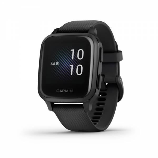 Garmin VENU SQ MUSIC Schwarz Schiefergrau Smartwatch Front
