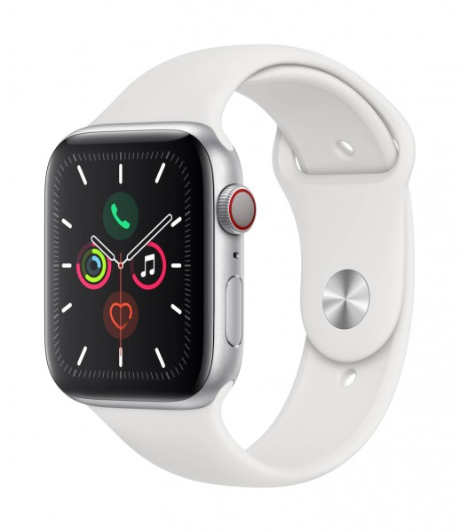 Apple Watch Series 5 LTE 44mm Alu Case silver Sportband weiß, 15260069226