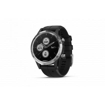 fenix 5 Plus silber mit schwarzem Armband