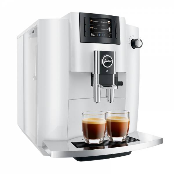 Jura Kaffeevollautomat Abgewinkelt Rechts Weiß (E6 Piano White)